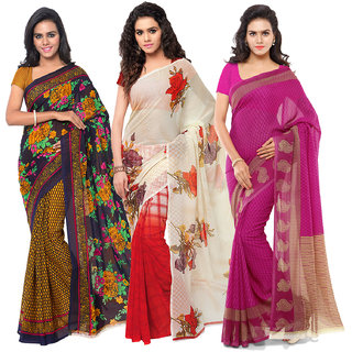 Anand Sarees Women's Faux Georgette Multi Color Printed Pack Of 3 Sarees With Blouse Piece ( TRIO_1080_1107_2_1168_3 )
