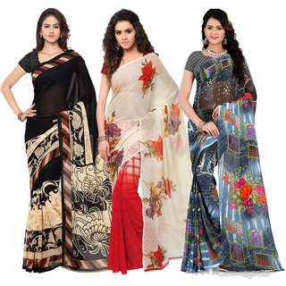 Anand Sarees Women's Faux Georgette Multi Color Printed Pack Of 3 Sarees With Blouse Piece ( TRIO_1080_1134_1_1285 )