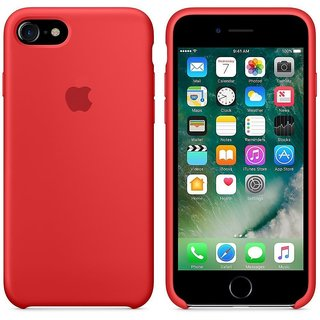 Soft Silicone Shinning Plating Design Case Cover For iPhone 7 - Red