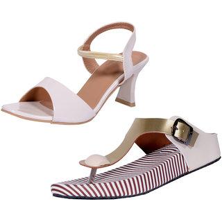 e590e710d09 Indistar Women's Footwear Combo Pack(Pack of 1 Women Sandal and 1 Women  Flats)-Cream::Gold/White-Size-10