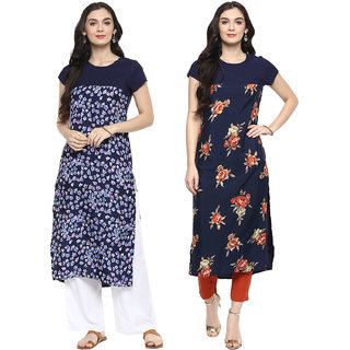 Meia Multicolor Printed Crepe Stitched kurti for women (Combo of 2)