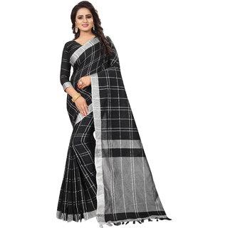 1952343fd44c0d TexStile Women Linen saree with blouse Piece (TEXsaree972BlackFree Size)
