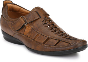 El Paso Brown Synthetic PU Velcro Casual Sandals For Men