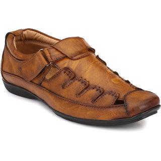 El Paso Men's Tan Slip On Velcro Casual Sandals