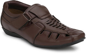 El Paso Men's Brown Slip On Velcro Casual Sandals