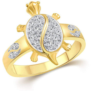 Sukai Jewels Money Tortoise Gold Plated Alloy & Brass Cubic Zirconia Finger Ring for Women and Men [SFR501G]