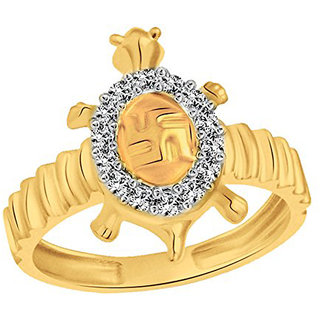 Sukai Jewels Swastik Tortoise Gold Plated Alloy & Brass Cubic Zirconia Finger Ring for Women and Men [SFR503G]
