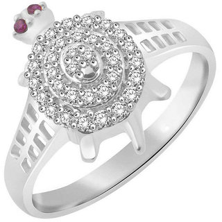 Sukai Jewels Lucky Tortoise Rhodium Plated Alloy & Brass Cubic Zirconia Finger Ring for Women and Men [SFR505R]