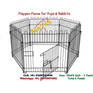 Dog Cage Play Pen-Fence For Pups, Rabbit  Guinea Pigs (For In Or Out Door) - Play station for pups or small animals (Ve