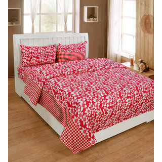 BSB Trendz Premium Polycotton feels like glace cotton Bedsheet With 3D HD printed Double Red Colour Small leaf printed Double Bed Bedsheet With 2 Pillow Covers  Bedsheet Size-88X88 Inches   Pillow Cover Size-17x27 Inches. Vi2636