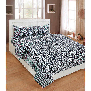 BSB Trendz Premium Polycotton feels like glace cotton Bedsheet With 3D HD printed Double Black Colour Small leaf printed Double Bed Bedsheet With 2 Pillow Covers  Bedsheet Size-88X88 Inches   Pillow Cover Size-17x27 Inches. Vi2637