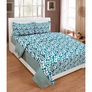 BSB Trendz Premium Polycotton feels like glace cotton Bedsheet With 3D HD printed Double Green Colour Small leaf printed Double Bed Bedsheet With 2 Pillow Covers  Bedsheet Size-88X88 Inches   Pillow Cover Size-17x27 Inches. Vi2638