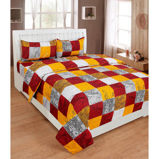BSB Trendz Premium Polycotton feels like glace cotton Bedsheet With 3D HD printed Double With Yellow Maroon & White Checks Bedsheet With 2 Pillow Covers  Bedsheet Size-88X88 Inches   Pillow Cover Size-17x27 Inches. Vi2639