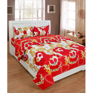 BSB Trendz Premium Polycotton feels like glace cotton Bedsheet With 3D HD Flower printed Double Bed  Bedsheet With 2 Pillow Covers||Bedsheet Size-88X88 Inches|| Pillow Cover Size-17x27 Inches. Vi2642