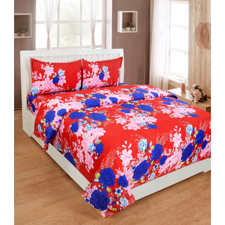 BSB Trendz Premium Polycotton feels like glace cotton Bedsheet With 3D HD Flower  printed Double Bed  Bedsheet With 2 Pillow Covers||Bedsheet Size-88X88 Inches|| Pillow Cover Size-17x27 Inches. Vi2643