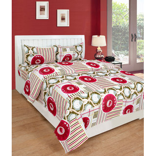 BSB Trendz Premium Polycotton feels like glace cotton Bedsheet With 3D HD Flower  printed With dark Red Large Circle Printed Double Bed  Bedsheet With 2 Pillow Covers||Bedsheet Size-88X88 Inches|| Pillow Cover Size-17x27 Inches. Vi2647
