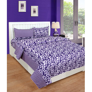 BSB Trendz Premium Polycotton feels like glace cotton Bedsheet With 3D HD printed Double Purple Colour Small leaf printed Double Bed Bedsheet With 2 Pillow Covers  Bedsheet Size-88X88 Inches   Pillow Cover Size-17x27 Inches. Vi2650