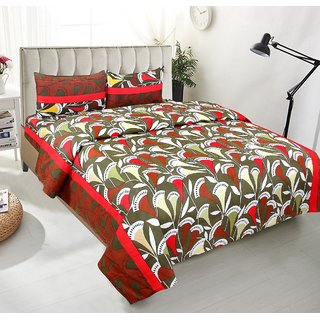 BSB Trendz Premium Polycotton feels like glace cotton Bedsheet With 3D HD Red and white Leaf print Double Bed  Bedsheet With 2 Pillow Covers  Bedsheet Size-88X88 Inches   Pillow Cover Size-17x27 Inches. Vi2659