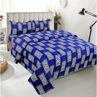 BSB Trendz Premium Polycotton feels like glace cotton Bedsheet With 3D HD printed Royal Blue and White Checks Double Bed  Bedsheet With 2 Pillow Covers  Bedsheet Size-88X88 Inches   Pillow Cover Size-17x27 Inches. Vi2662