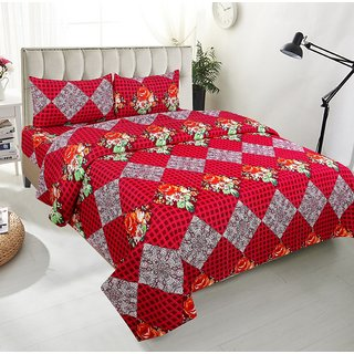 BSB Trendz Premium Polycotton feels like glace cotton Bedsheet With 3D HD Red Colour Small Checks print Double Bed  Bedsheet With 2 Pillow Covers  Bedsheet Size-88X88 Inches   Pillow Cover Size-17x27 Inches. Vi2663