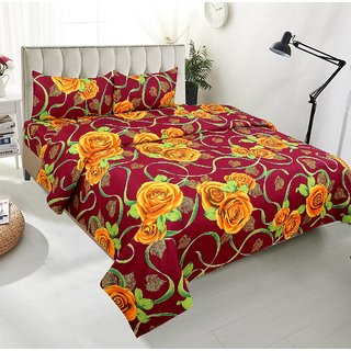 BSB Trendz Premium Polycotton feels like glace cotton Bedsheet With 3D HD yellow Rose print With maroon Base Double Bed  Bedsheet With 2 Pillow Covers||Bedsheet Size-88X88 Inches|| Pillow Cover Size-17x27 Inches. Vi2664