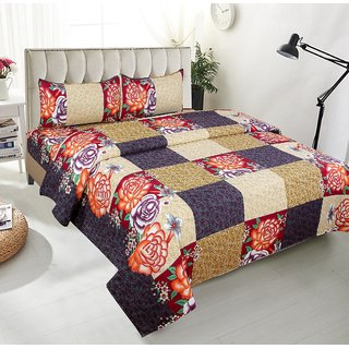BSB Trendz Premium Polycotton feels like glace cotton Bedsheet With 3D HD Large Rose Print With Check printed   Double Bed  Bedsheet With 2 Pillow Covers  Bedsheet Size-88X88 Inches   Pillow Cover Size-17x27 Inches. Vi2666