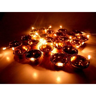 Led light string diya  diya toran light for decoration . Gold colour