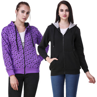 Christy World Multicolor Hooded Sweatshirt For Women