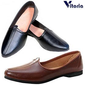 Vitoria Men Brown ,Black Smart Formals Slip on Stylish Jutti Combo