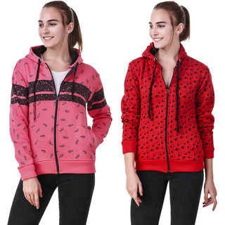 Christy World Multicolor Hooded Sweatshirt For Women