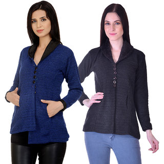 Christy World Multicolor Wool Cardigans For Women