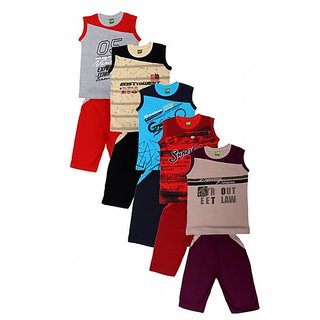 Kavin's Cotton Three-Fourth Pant with sleeveless Tees for boys, Pack of 5, Multicolored