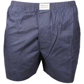 Neska Moda Men Elasticated Cotton Dark Blue Boxer With 1 Back Pocket XB176