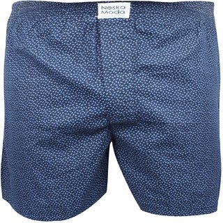 Neska Moda Men Elasticated Cotton Dark Blue Boxer With 1 Back Pocket XB184