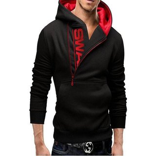 Aarmy Fit Men Hooded Black Sweatshirt