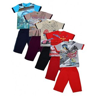 Kavin's Cotton Three-Fourth Pant with matching Tees for boys, Pack of 5, Multicolored