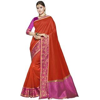 Swaron Orange Tussar Silk Jacquard Saree with Unstitched Blouse