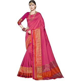 Swaron Pink Tussar Silk Jacquard Saree with Unstitched Blouse