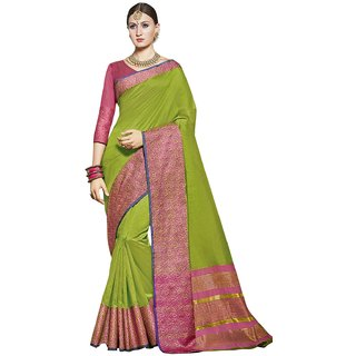 Swaron Green Tussar Silk Jacquard Saree with Unstitched Blouse