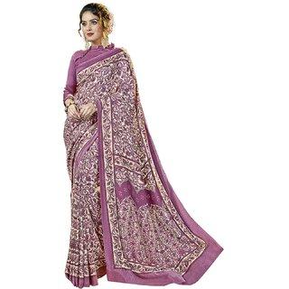 Swaron Purple Pashmina Printed Saree with Unstitched Blouse