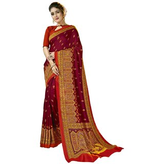 Swaron Maroon Pashmina Printed Saree with Unstitched Blouse