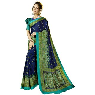 Swaron Navy Blue Pashmina Printed Saree with Unstitched Blouse