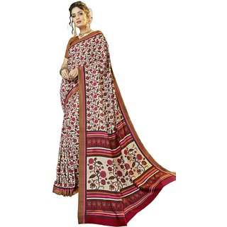 Swaron Beige Pashmina Printed Saree with Unstitched Blouse