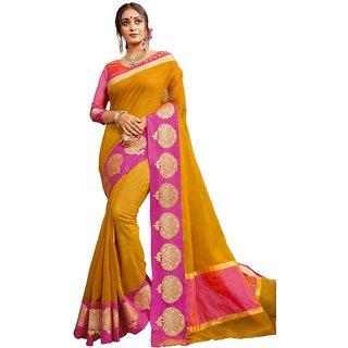 Swaron Mustard Poly Silk Jacquard Kota Doria Saree with Unstitched Blouse