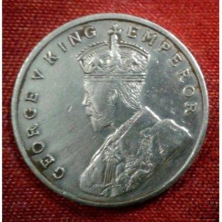 BRITISH INDIA 8 ANNA ANNAS YEAR 1919 GEORGE-V KING RARE COIN