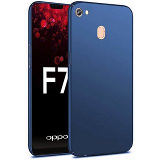 4Cut Matte Finish Rubberised  Hard Back Case Cover For Oppo F7 - Blue