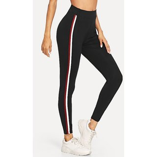 Code Yellow Women's Wide Waist Narrow Red White Stripes Stretchable Casual Leggings
