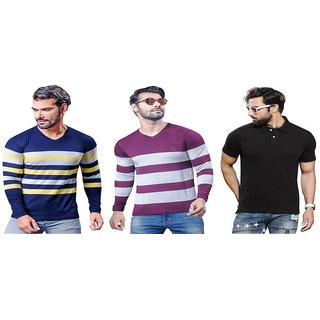 Kundan Exclusive Men's 100% Pure-Cotton Multi Color V-Neck Full Sleeves Slim Fit & Polo Neck Regular Fit Half Sleeves Plain T Shirt ( Pack of 3 T Shirt for Men )