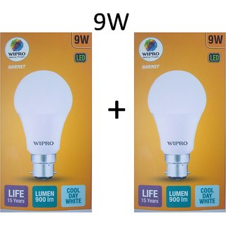 Pack Of Two Wipro Garnet LED Bulb 9W With Free shipping.