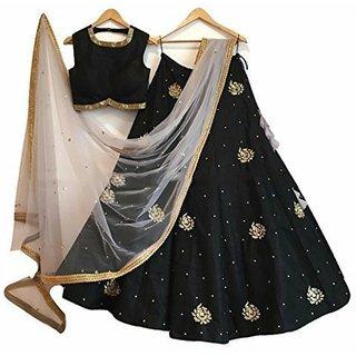 New Latest Bollywood Designer Black Embroidered Lehenga Choli...